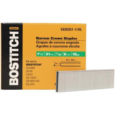 Bostitch 18-Gauge Galvanized Narrow Crown Finish Staple, 7/32 In. x 1-1/4 In. (3000 Ct.)