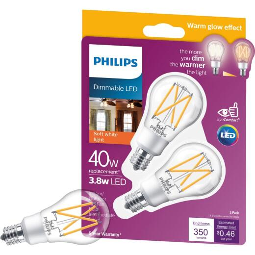 Philips Warm Glow 45W Equivalent Soft White A15 E17 Base Dimmable LED Light Bulb (2-Pack)
