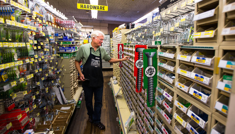 man in hardware store